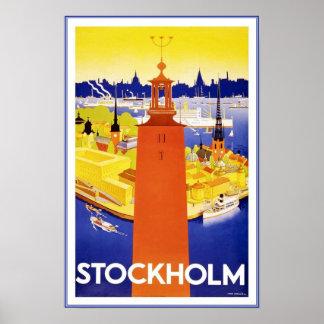 プリントのレトロのヴィンテージのイメージ旅行ストックホルム ポスター