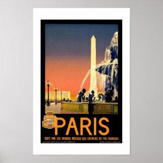 プリントのレトロのヴィンテージのイメージ旅行パリフランス ポスター