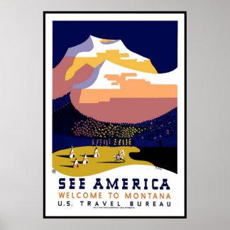 プリントのレトロのヴィンテージのイメージ旅行モンタナアメリカ ポスター