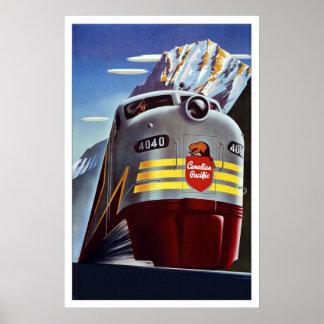 プリントのレトロのヴィンテージのイメージ旅行列車カナダ ポスター