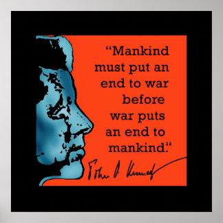 プリントの戦争についてのJFKの引用文 ポスター