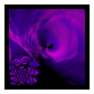 プリントの抽象的で薄い紫色のピンクの黒 ポスター