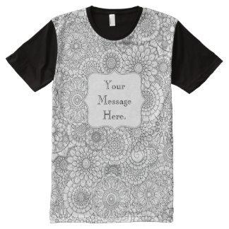 プリントのTシャツをくまなく名前入りな大人の着色 オールオーバープリントT シャツ