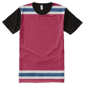 プリントのTシャツをくまなく大きく赤い白いそして青 オールオーバープリントT シャツ