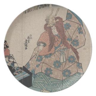 プリントは日本で戦士か金属細工人を示します プレート