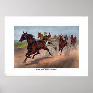 プリントを競争させるヴィンテージの馬キャリッジ ポスター