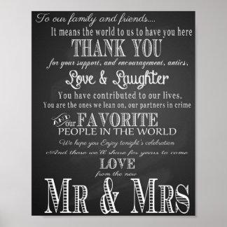 """プリントを""""結婚して""""ヴィンテージの黒板ありがとう ポスター"""