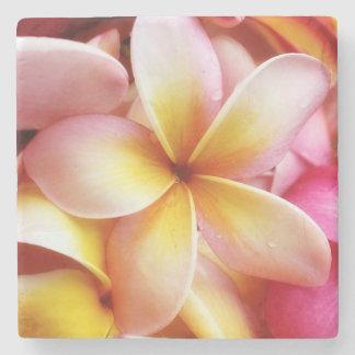 プルメリアの花のハワイのFrangipaniの花柄 ストーンドリンクコースター