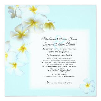 プルメリアの花の正方形の結婚式招待状 カード