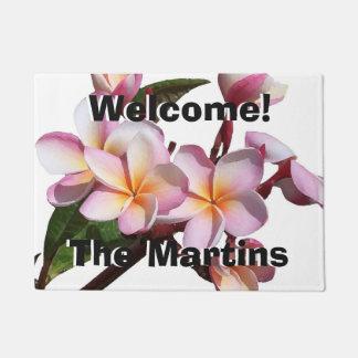 プルメリアの花の花の名前入りな玄関マット ドアマット