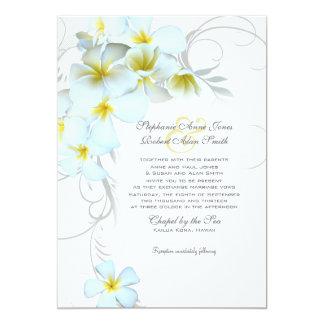 プルメリアの華麗さのカスタムの結婚式招待状 カード