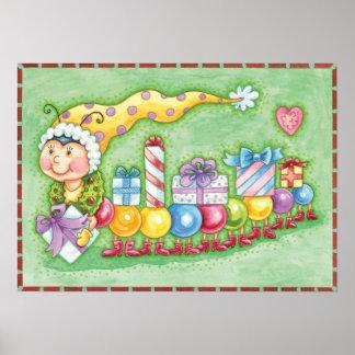プレゼントが付いているかわいいクリスマスの幼虫の列車 ポスター