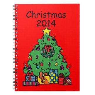 プレゼントが付いている漫画のスタイルのクリスマスツリー ノートブック