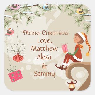 プレゼントを持つ小妖精や小人および枝ギフトの鳥は付きます スクエアシール