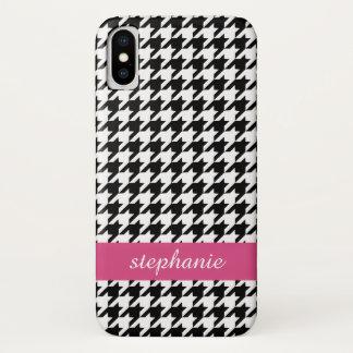 プレッピーで千鳥格子のなパターン-黒く、ショッキングピンク iPhone X ケース