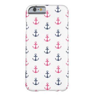 プレッピーで航海のなピンク及び海軍いかりパターン BARELY THERE iPhone 6 ケース