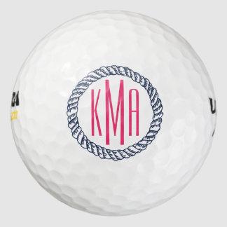 プレッピーで航海のな海軍及び白のストライプなピンクのモノグラム ゴルフボール