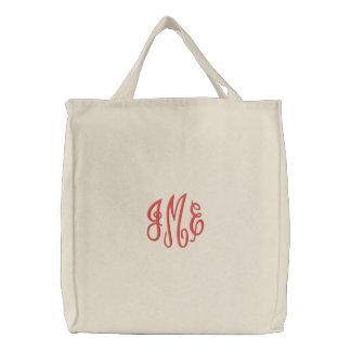 プレッピーで赤い原稿のモノグラムによって刺繍される白いバッグ 刺繍入りトートバッグ