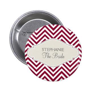 プレッピーなシェブロンのストライプでモダンで赤く白い花嫁の名前 5.7CM 丸型バッジ