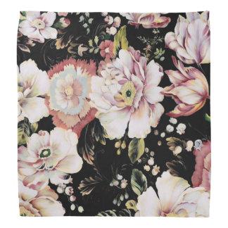 プレッピーなボヘミアの国のぼろぼろのシックで黒い花柄 バンダナ