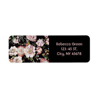 プレッピーなボヘミアの国のぼろぼろのシックで黒い花柄 ラベル