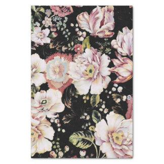 プレッピーなボヘミアの国のぼろぼろのシックで黒い花柄 薄葉紙
