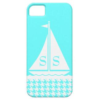 プレッピーな帆ボートの千鳥格子のなガーリー個人化なります iPhone SE/5/5s ケース