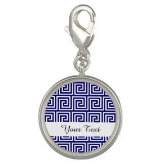 プレッピーな濃紺の白いギリシャの主パターン チャーム