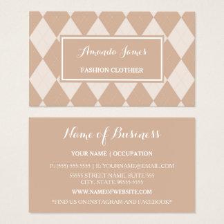 プレッピーな薄茶のアーガイル柄のなパターンファッションの洋服屋 名刺