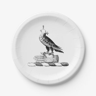 プレッピーなHeraldic 《鳥》ハヤブサwのヘルメットの紋章付き外衣は頂点に達します ペーパープレート