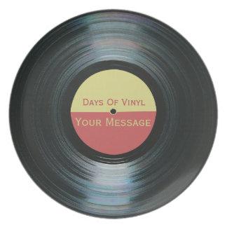 プレートのビニールの黒いレコードの効果の日 パーティープレート