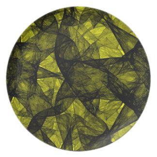 プレートのフラクタルの芸術の黒および黄色 プレート