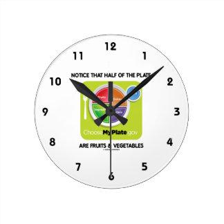 プレートの半分がフルーツ及び野菜であることに気づいて下さい ラウンド壁時計