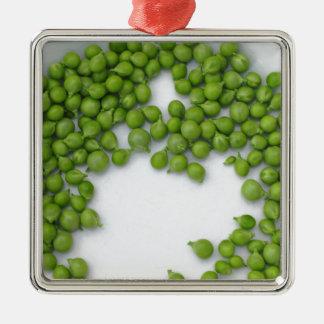プレートの熟したグリーンピース メタルオーナメント