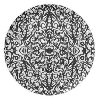 プレートの花柄の抽象芸術の背景 プレート