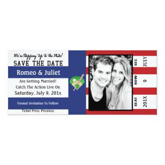 プレートの野球の結婚式の保存へのステップ日付 カード