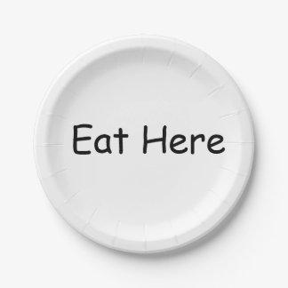 プレートをここに食べて下さい ペーパープレート
