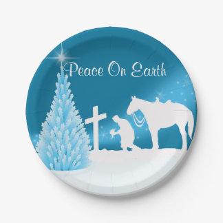 プレートを祈っている西部のクリスマスのカウボーイ ペーパープレート