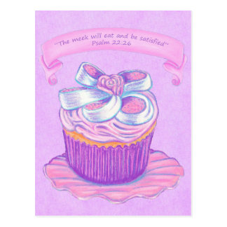 プレート2~の聖なる書物、経典の郵便はがきのピンクのカップケーキ ポストカード