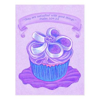 プレート4の~の聖なる書物、経典の郵便はがきの紫色のカップケーキ ポストカード
