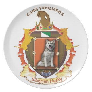 プレート-シベリアンハスキー犬の紋章付き外衣 プレート