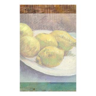 プレート、ヴィンテージの静物画の芸術のゴッホレモン 便箋
