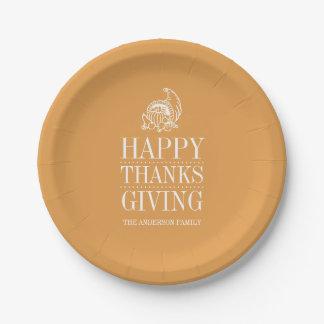 プレート-幸せな感謝の与えること ペーパープレート