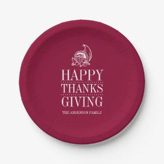 プレート-幸せな感謝の与えること 紙皿 小
