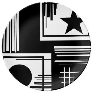 プレート-白黒コレクション 磁器プレート