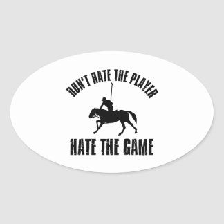 プレーヤーのおもしろいな馬のポロのデザインを憎まないで下さい 楕円形シール