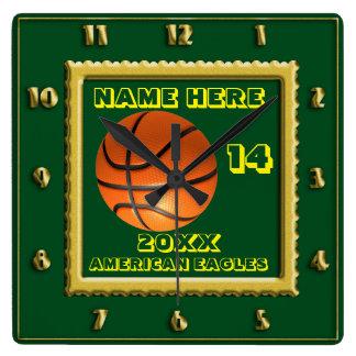 プレーヤーの名前の緑のバスケットボール スクエア壁時計