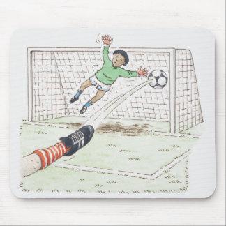 プレーヤーの足の蹴るフットボールのイラストレーション マウスパッド