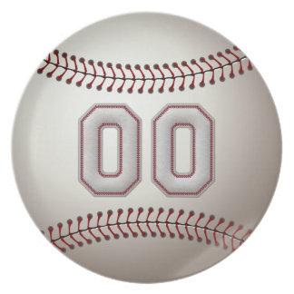 プレーヤー第00 -クールな野球のステッチ 皿