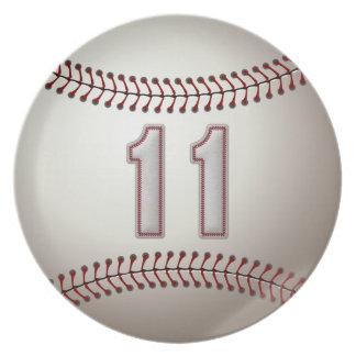 プレーヤー第11 -クールな野球のステッチ 皿